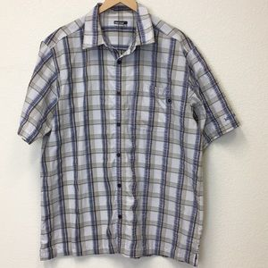 Marmot men's seersucker plaid polyester shirt XL